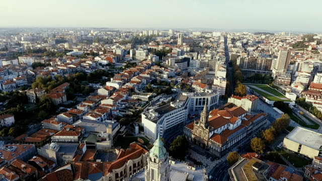 Rear up flight over Porto City. Aerial top view video