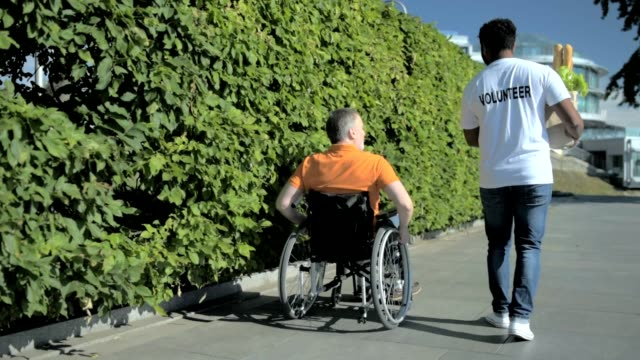Rear view of a pleasant volunteer helping a wheelchaired man video
