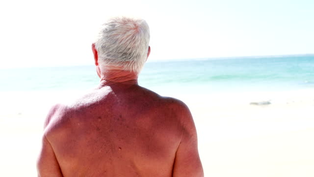 Rear view of a retired man video
