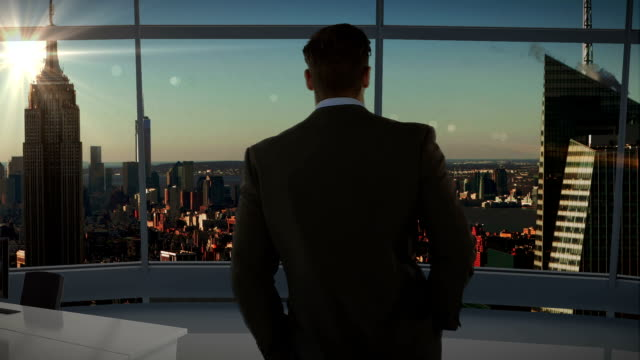 Rear view of businessman standing in office video