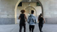 Rear view of friends jogging in colonnade video