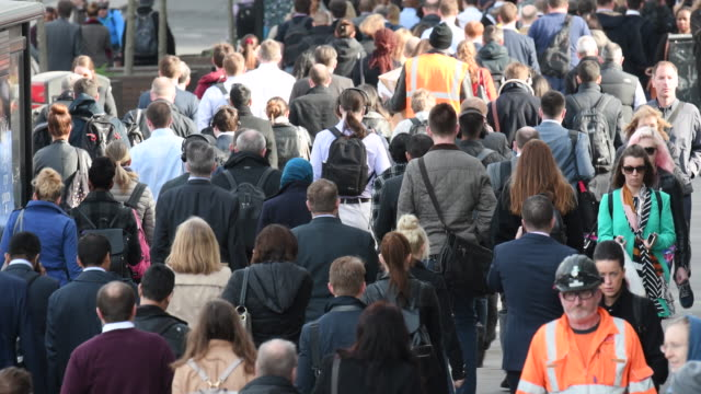 Rear view of large crowd of people commuting to work video