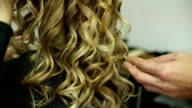 Rear view of young woman with long curly hair video