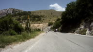 Rear View Onboard on Mountain Road: Motorcycle Riders video