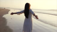 Rear view slow motion video of woman standing with arms outstretched on shore video