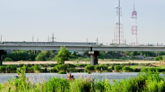 Reconstruction of a bridge over river. video
