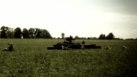Reconstruction of second world war battle, color corrected. Soldiers, weapon video