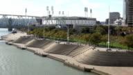Recreation and relaxing area at Ohio River Riverwalk  - CINCINNATI, OHIO USA video