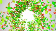 Recycle Symbol Green leaves particles butterfly video