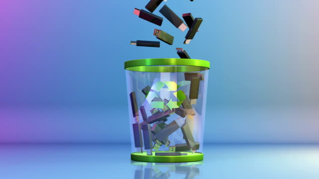 Recycle, USB falling into a Garbage Bin video