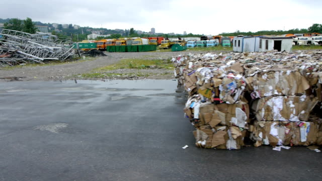 Recycling center aerial view video