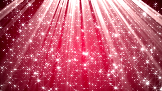 Red abstract background with stars and light rays video