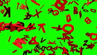 Red Alphabets On Green Chroma Key video