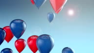 Red and blue balloons floating across the sky video