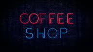 Red and blue Coffee Shop flashing neon sign video