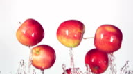 red apple with splashes of water video