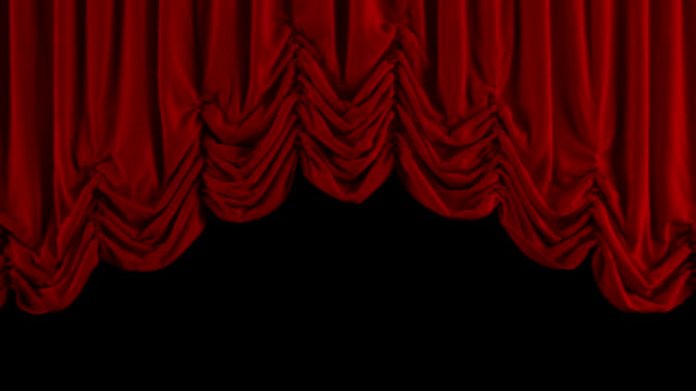 Red Austrian curtain closing. With alpha channel. video