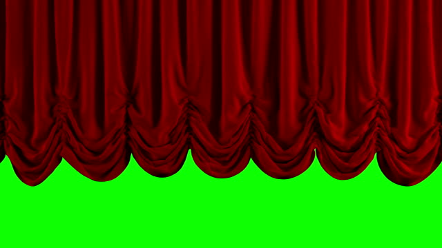 Red Austrian curtain opens and falls/closing. With chroma key video