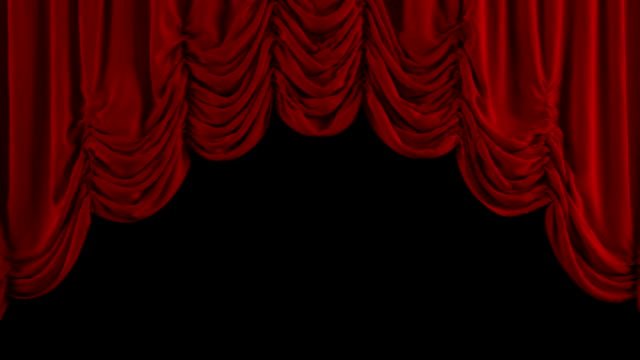 Red Austrian curtain opens. With alpha channel. video