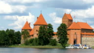 A red castle in the city of Lithuania video