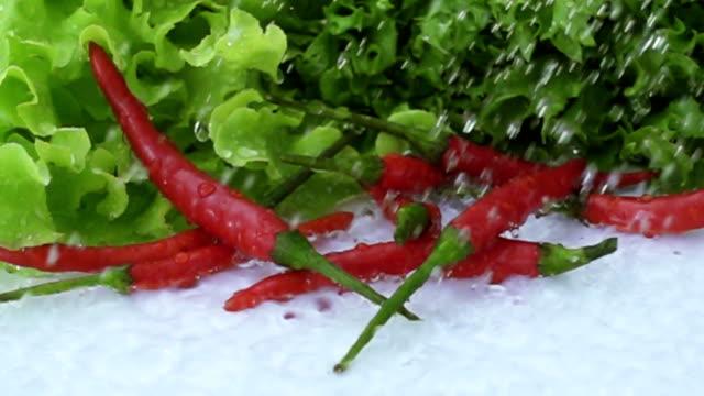 Red chili splash to water video