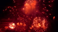 Red Color Night Fireworks video
