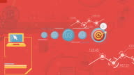 Red Corporate Background With Abstract Elements Of Infographics video