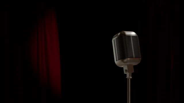 Red Curtain Opening with Retro Microphone video