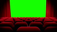 HD : Red curtains open and close with green screen, Theater Opening. video