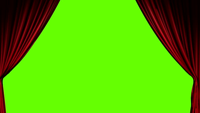 Red curtains open and close with green screen video