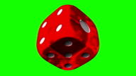 Red Dice On Green Chroma Key video