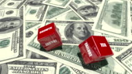 Red Dice with Business Words on Dollar Backgorund video