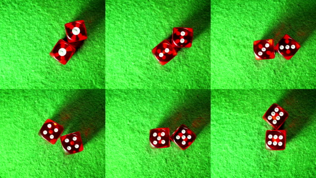 Red dices on the green cloth background. Rotation. Compilation. All possible doubles. Top view. video