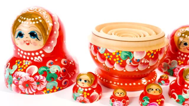 Red dolls matryoshka dolly video