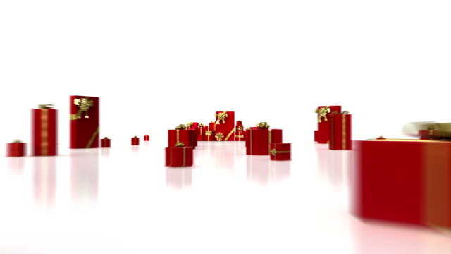 Red gifts on white background. video