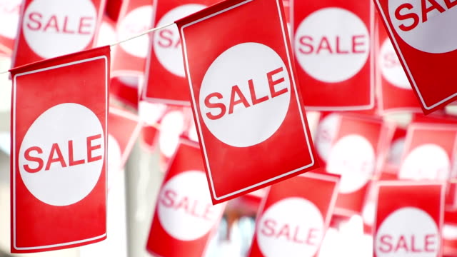 Red hanging sale labels video