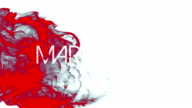 Red ink swirling in water with marketing text video