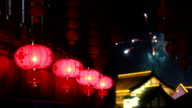 Red  Lanterns and fireworks,Asian culture video