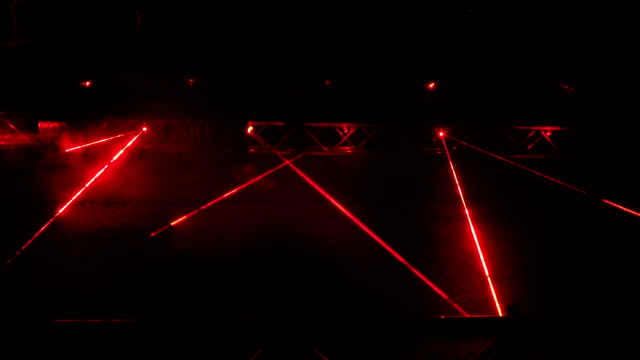 red laser beams used in security demonstration at night. video