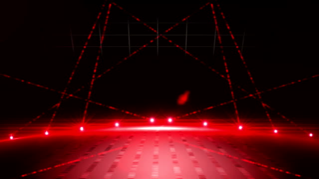 Red laser show on black background video