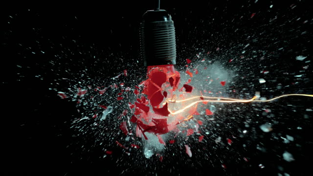 SLO MO red light bulb explosion video
