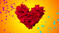 Red Love Particles Heart Shape 3D orange background Seamless Loop video