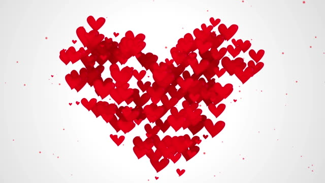 Red Love Shape Particles white background video