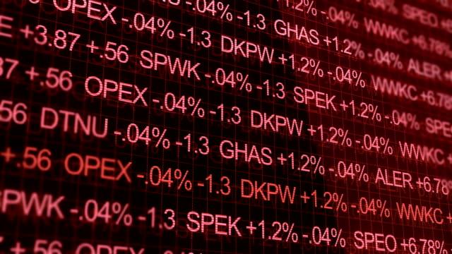 Red Ominous Stock Market Ticker in futuristic environment video