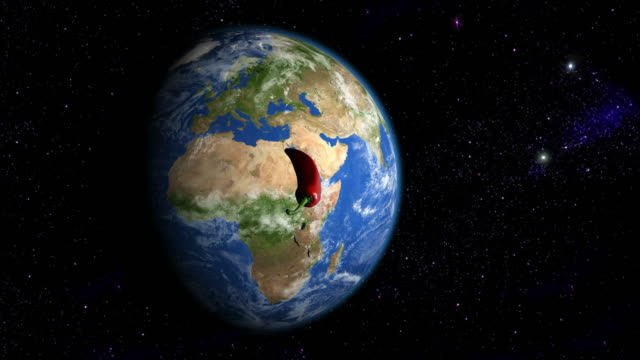 Red pepper orbiting the slowly rotating Earth video