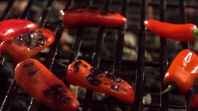 Red peppers on grill video