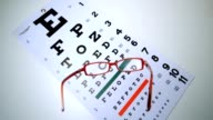 Red reading glasses falling onto eye test overhead shot video