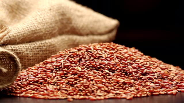 Red rice in gunny sack isolated on black video