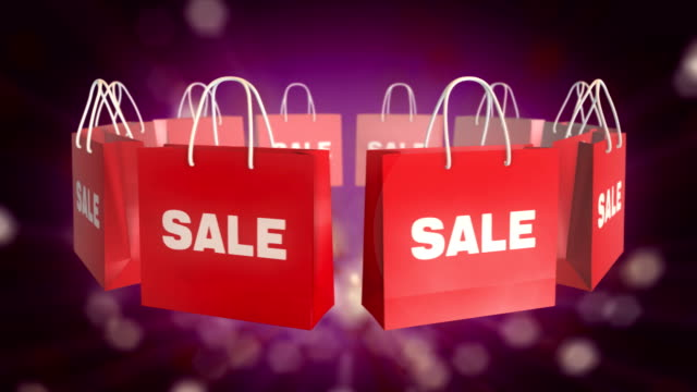 Red SALE Shopping Bag on twinkle background video