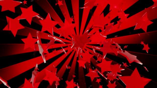 Red stars with sunburst on black video